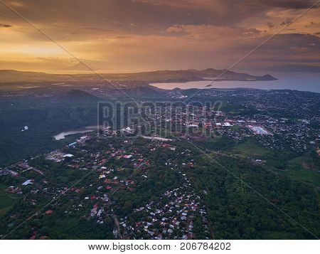 Panorama of Managua city aerial view in Nicaragua central America