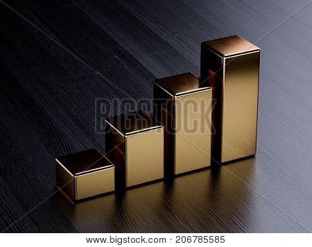 Golden Bar Graph Chart