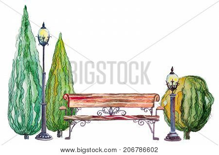 Watercolor hand drawn watercolor autumn background with park, outdoor elements, orange, green trees, thujas, bush, bench and lantern on the white horizontal background