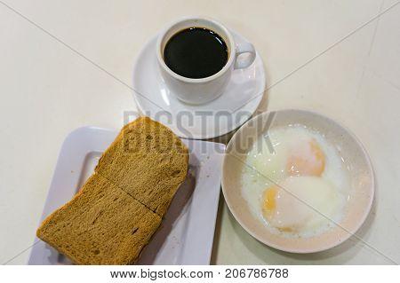 Singapore Breakfast Kaya Toast, Coffee Bread And Half Boiled Eggs