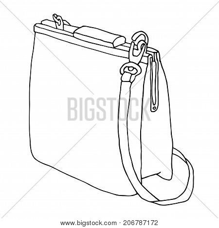 Leather bag on white background. Line art sketch. Bag with a belt.