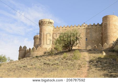 BELMONTE, SPAIN -JULY 29, 2017: Medieval castle on the hill in the village of Belmonte province of Cuenca Spain.