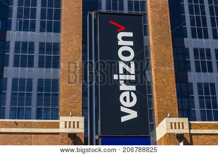 Indianapolis - Circa September 2017: Signage and logo of Verizon Wireless. Verizon is the largest U.S. wireless communications service provider XXIII