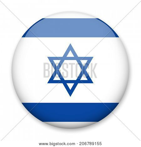 Flag of Israel in the form of a round button with a light glare and a shadow. The symbol of Independence Day, a souvenir, a button for switching the language on the site, an icon.