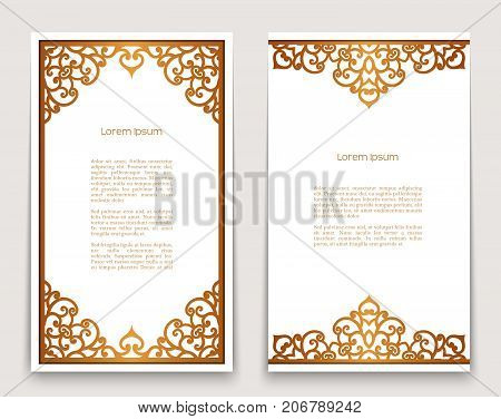 Vintage gold rectangle frames with ornate borders on white, golden scroll embellishment, vector decoration for greeting card or invitation design
