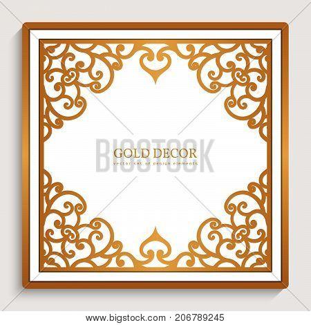 Vintage gold background, square golden frame with filigree border pattern, swirly decoration for greeting card or invitation design