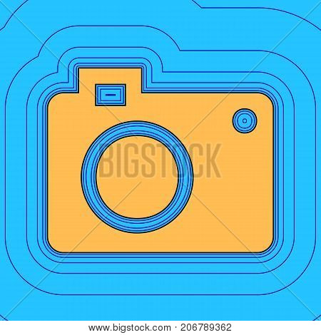 Digital camera sign. Vector. Sand color icon with black contour and equidistant blue contours like field at sky blue background. Like waves on map - island in ocean or sea.