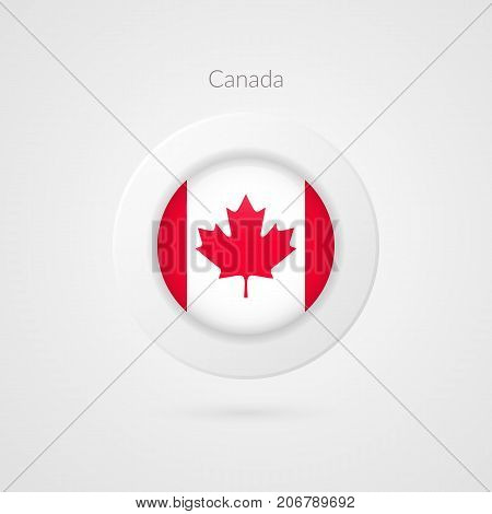 Canada flag vector sign. Isolated Canadian circle symbol. North American illustration icon for presentation project advertisement sport event travel concept web design logo badge. Maple leaf