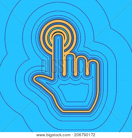 Hand click on button. Vector. Sand color icon with black contour and equidistant blue contours like field at sky blue background. Like waves on map - island in ocean or sea.