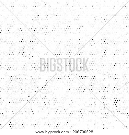 Seamless subtle black halftone vector texture overlay. Monochrome abstract splattered white repeat background. Dotted grain black and white gritty grunge endless pattern. Dot and circle dirty effect