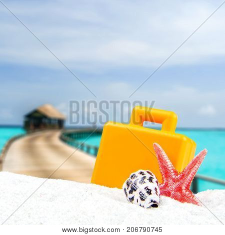 Combination Of Sandy And Shell Front With Blurred Tropical Island Background