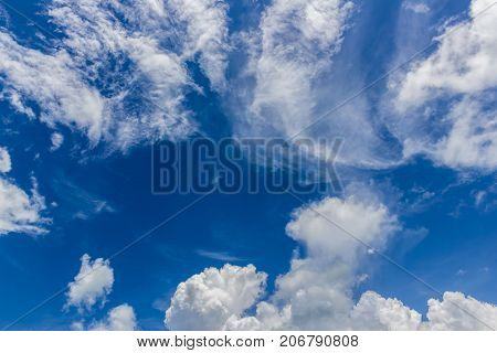 Strange cumulus cloud with blue sky background