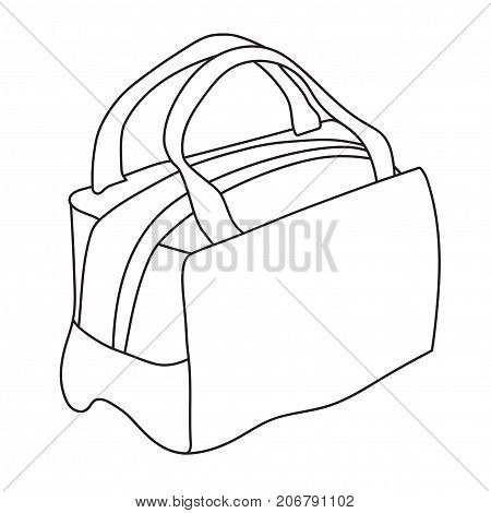 Handbag with handles. Line art sketch illustration. Black and white vector isolated object.