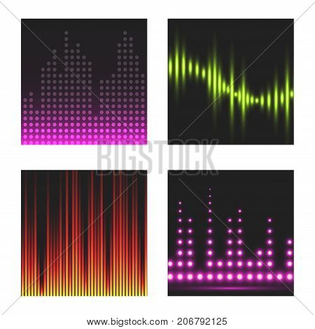 Vector digital music equalizer audio waves brochure design template audio signal visualization signal illustration. Multitrack editing system soundtrack line bar spectrum electronic.
