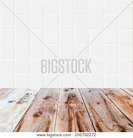 White Bricks Background And Wooden Floor