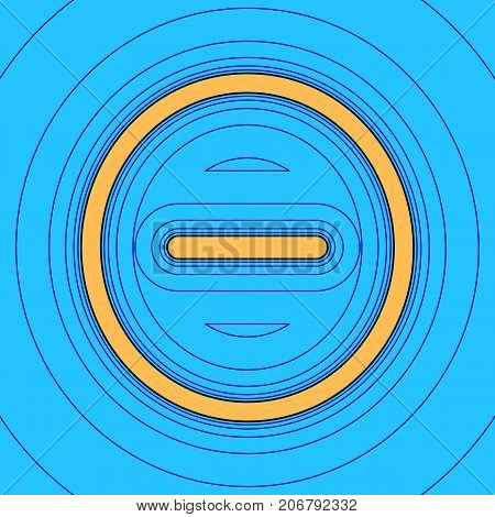 Negative symbol illustration. Minus sign. Vector. Sand color icon with black contour and equidistant blue contours like field at sky blue background. Like waves on map - island in ocean or sea.