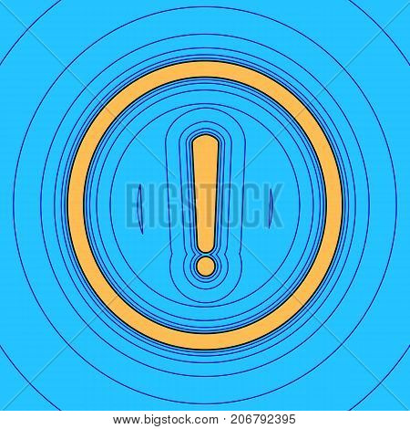 Exclamation mark sign. Vector. Sand color icon with black contour and equidistant blue contours like field at sky blue background. Like waves on map - island in ocean or sea.