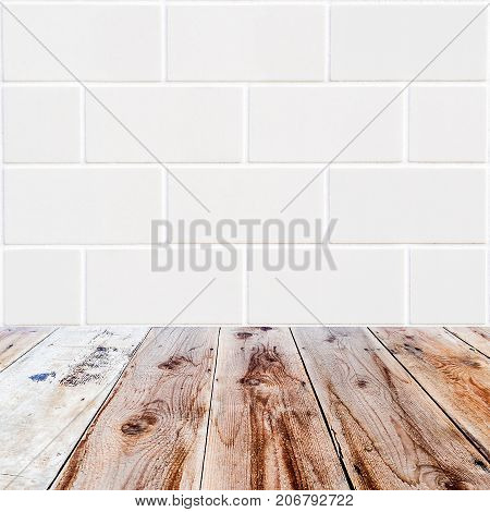 White Rectangle Bricks Background And Wooden Floor