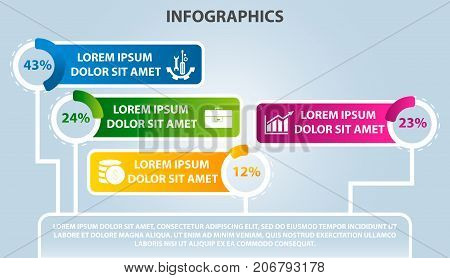 Vector Illustration. Infographic Template With 4 Elements, Circles And Percentages. Contains Icons A