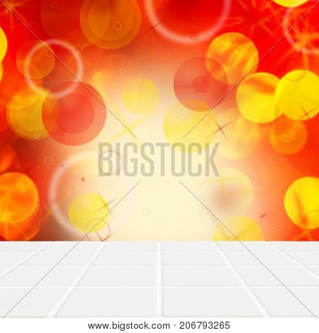 Wooden Floor And Yellow Lights On Red Wall