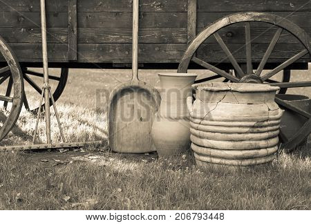 ancient rural ware and utensils closeup and cart monochrome tone