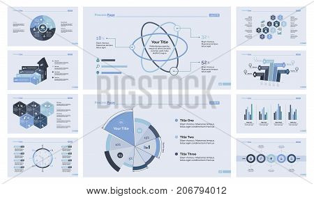 Business efficiency diagram set for inforgraphic, report, workflow layout. Business concept. Puzzle chart, process chart, timetable, pie chart, atom percentage graph, bar graph, flowchart