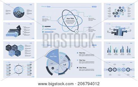 Business efficiency diagram set for inforgraphic, report, workflow layout. Business concept. Puzzle chart, process chart, timetable, pie chart, atom percentage graph, bar graph, flowchart