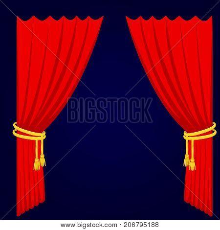 Theather scene blind curtain stage fabric texture performance interior cloth entrance backdrop isolated vector illustration. Presentation velvet luxury show boards elegant decor