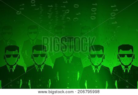 Virtual digits abstract 3d illustration shadow corporate figure ranks horizontal background