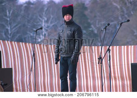 Zhytomyr Ukraine - May 05 2015: man with fun hat and microphone on the scene