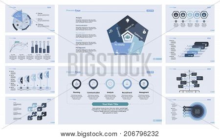 Data organization template set for inforgraphic, annual report, web design. Management concept. Pie chart, scatter plot, bar graph, flowchart, cube graph, puzzle graph, option chart, process chart
