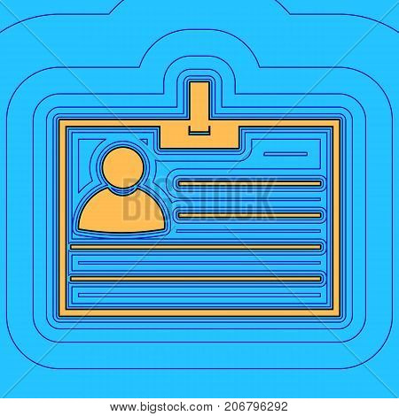 Id card sign. Vector. Sand color icon with black contour and equidistant blue contours like field at sky blue background. Like waves on map - island in ocean or sea.