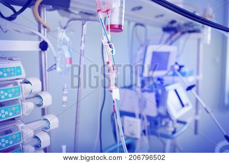 Used blood system after blood transfusion in the ICU room.