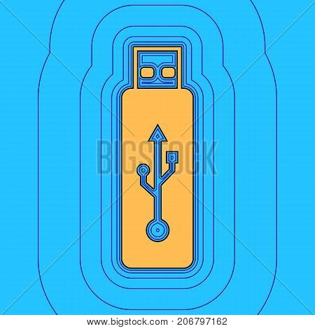 Vector USB flash drive sign. Vector. Sand color icon with black contour and equidistant blue contours like field at sky blue background. Like waves on map - island in ocean or sea.