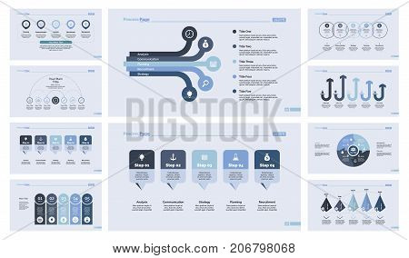 Flowchart and process chart set for presentation, annual report, workflow layout. Management concept. Flowchart, process chart, option chart, arrow graph, donut graph, timing and date graph