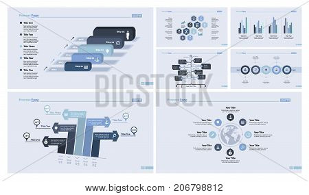 Inforgraphic design template set for statistic report, workflow layout, presentations. Management concept. Five step process chart, option chart, bar graph, organizational chart, world map diagram