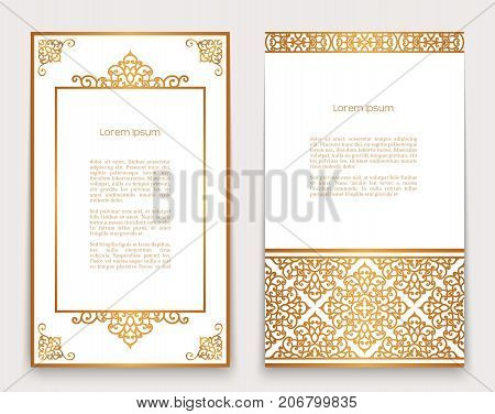 Vintage gold frames with swirly border and corner patterns on white ornate golden decoration for greeting card or invitation design