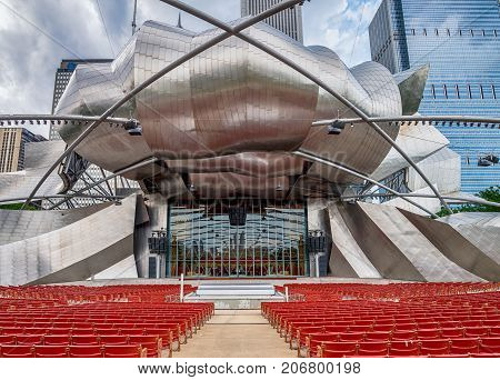 CHICAGO IL 4 JULY 2017- View of the Jay Pritzker Music Pavilion designed by architect Frank Gehry in the Millennium Park in Chicago Illinois.