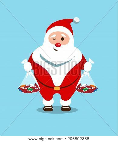Merry Santa Claus. Kind bearded hero. Christmas old man in a red fur coat. Sticker for winter celebrations. Sweets from the favorite character of children.