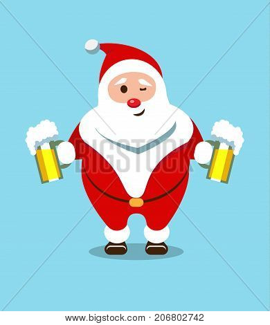 Merry Santa Claus. Kind bearded hero. Christmas old man in a red fur coat. Sticker for winter celebrations. Foam beer from a festive bartender.
