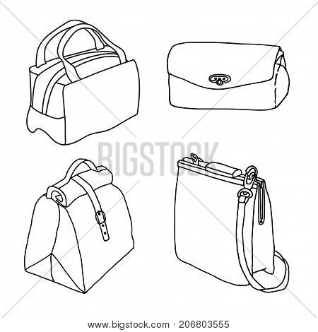 Handbags. Clutch Cross body bag folded case. Hand drawn accessory collection. Line art illustration sketch.