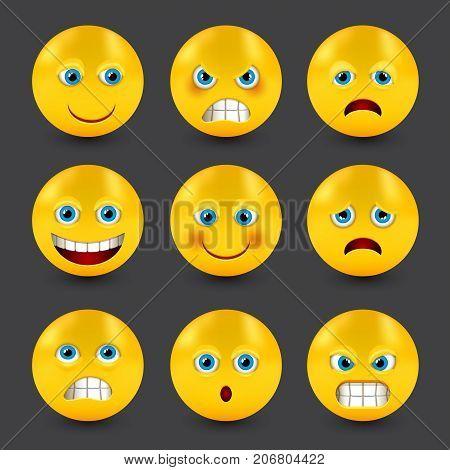 group of glass smiley emoticons emoji, vector illustration.
