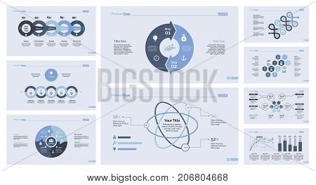 Infographics set can be used for workflow layout, web design, annual report. Business development concept with percentage and bar charts, options and comparison diagrams, cycle graph