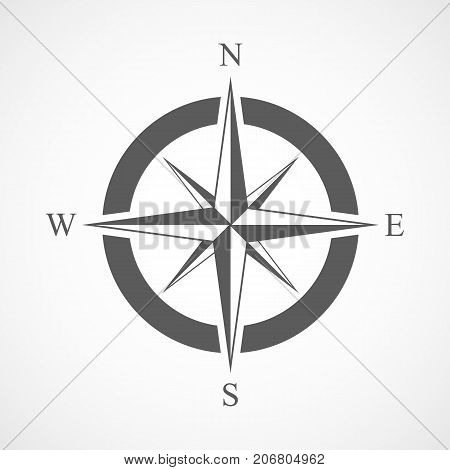Compass icon in flat design. Vector illustration. Compass icon isolated on light background
