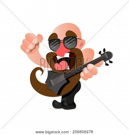 American rocker with a guitar in hands sings