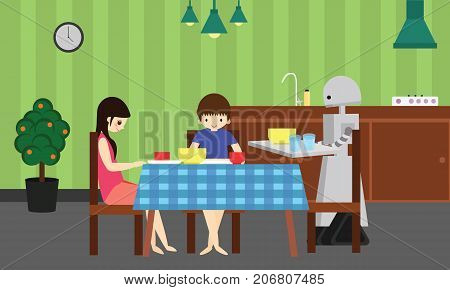 Domestic robot brings food for young boy and girl. Personal robot assistance futuristic concept illustration vector.