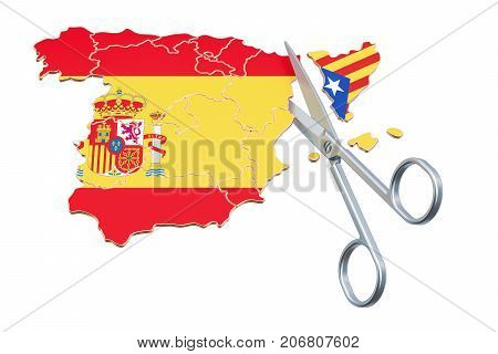 Catalonia independence concept 3D rendering isolated on white background