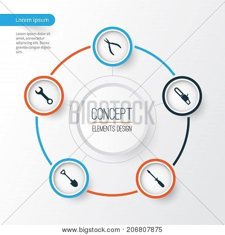 Handtools Icons Set. Collection Of Round Pliers, Digging, Spanner And Other Elements