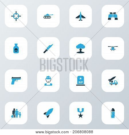 Warfare Colorful Icons Set. Collection Of Binoculars, Bullet, Tank And Other Elements