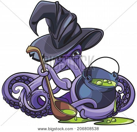 Vector colourful illustration of octopus in witch hat with pot of magic potion in his tentacles isolated on white background. File doesn't contains gradients blends transparency and strokes or other special visual effects. You can open this file with any